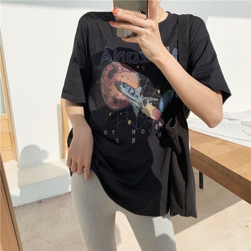Camisetas Verano Mujer 2019 Casual Einfache Wilden T-Shirt Frauen Mission Zu Mars Raumschiff Druck Arizona Baumwolle Lose T-Shirt Schwarz