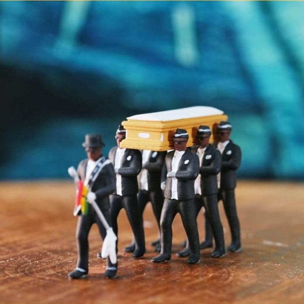 164 haute Simulation en plastique Ghana cercueil funéraire danse Pallbearer équipe modèle exquis exécution Action Figure voiture décor