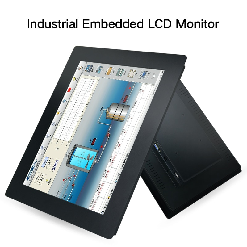 """23.6 Inch Monitor HDMI VGA DVI USB LCD Screen Resistance Touch Screen 23"""" Buckles HD display Mounting industrial computer lcd"""