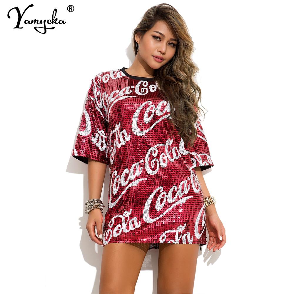 Dropshipping camiseta de gran tamaño Hip Hop lentejuelas mujeres verano tops vintage baile callejero ropa informal suelta letra impresa camiseta roja