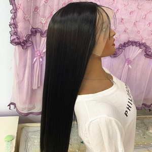 26inch Long Straight Soft Synthetic Big Lace Front With Natural Hairline Frontal 1B Black Wig For Black/White Women