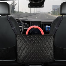 Safego Car Handbag Holder Luxury Leather Seat Back Organizer Mesh Large Capacity Bag Automotive Good