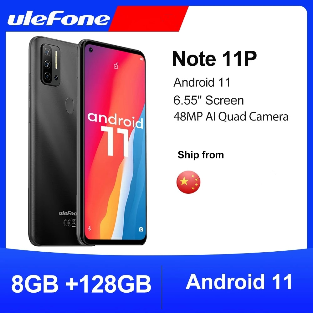 Оригинальный чехол-накладка Ulefone Примечание 11P Android 11 смартфон 8 ГБ + 128 ГБ 4G-LTE разблокировать телефон масштабным видением 4400 мА/ч, 48MP 6,55 дюйм мобил...