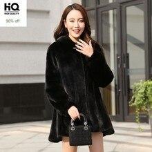 Top Qualität Luxus Nerz Echtem Leder Echtpelz Frauen Mäntel Koreanische Dicke Warme Medium Länge Mit Kapuze Mäntel Plus Größe M-5XL