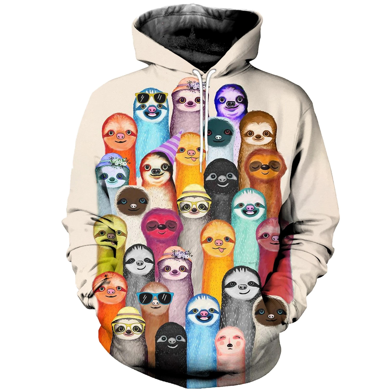 Dropshipping 2020 Moda hombre animal Hoodies pereza colorida impresión 3d sudadera/zip Hoodie Unisex Casual Harajuku Hoody