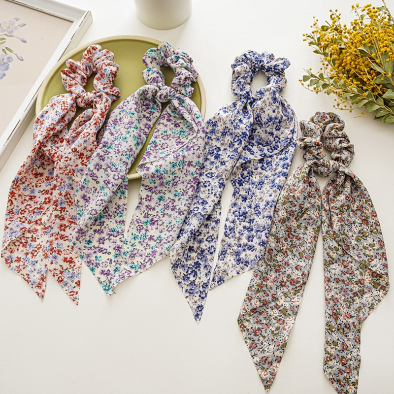 Floral Streamers Long Hair Ties Women Scarf Scrunchies Elastic Ribbon Bands Accessories Fashion Bow Rope