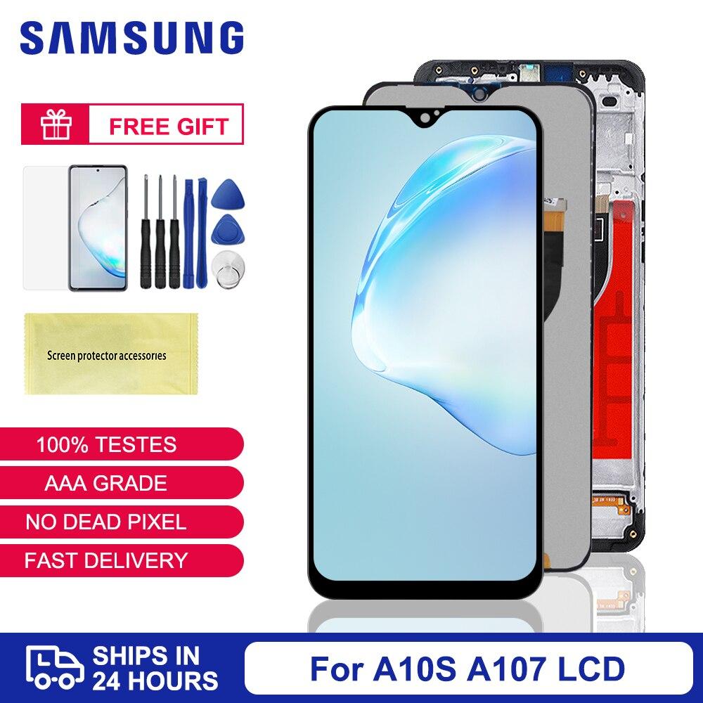لسامسونج غالاكسي A10s شاشة LCD A107/DS A107F A107FD A107M شاشة مع الإطار شاشة تعمل باللمس محول الأرقام لسامسونج A10S LCD