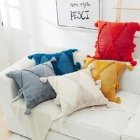 indian style embroidered tufted throw pillow case moroccan wind geometry handmade tasserls cushion cover home decor sofa pillows