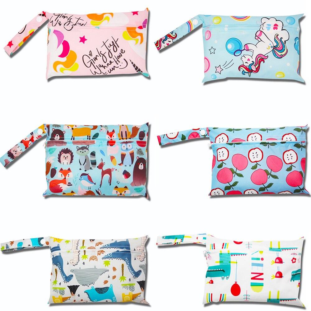 Baby Cloth Diaper Bags Waterproof Wet Bag Reusable printed organizer Maternity Stroller Bags Travel Wet Bags Wholesale 22*15CM