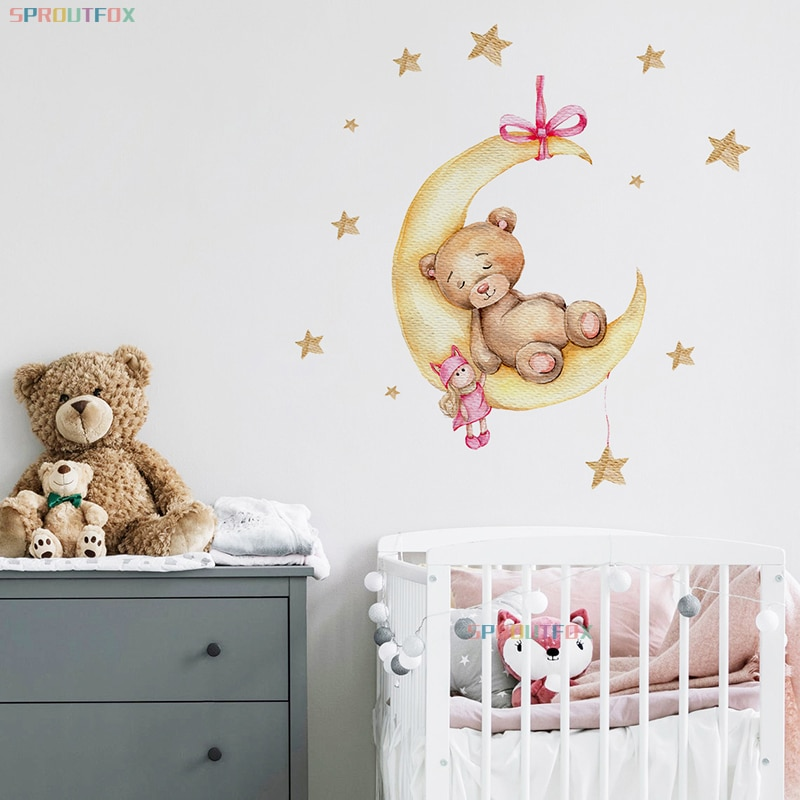 Animal Cartoon Wall Stickers For Kids Rooms Boys Girls Stars Bear Decoration Wall Stickers For Children Rooms Boy Large  - buy with discount