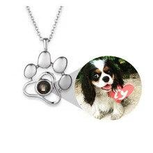 Projection personnalisée animaux de compagnie Photo empreintes chat chien patte collier mémoire bijoux