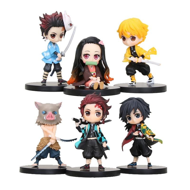 6pcs/set Anime Demon Slayer Kimetsu No Yaiba Figure Q Posket Kamado Tanjirou Kamado Nezuko Agatsuma Figure Toys 6cm