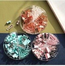 Mini pinces à reliure vert Rose or Rose métal Multi armoire trombone punaise papeterie accessoire de bureau fournitures scolaires H6022