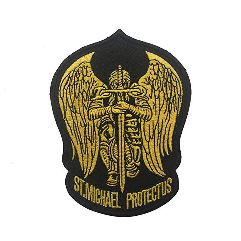 St saint michael proteger-nos bordado remendo tático militar do exército operador remendos com gancho e laço prendedor de apoio