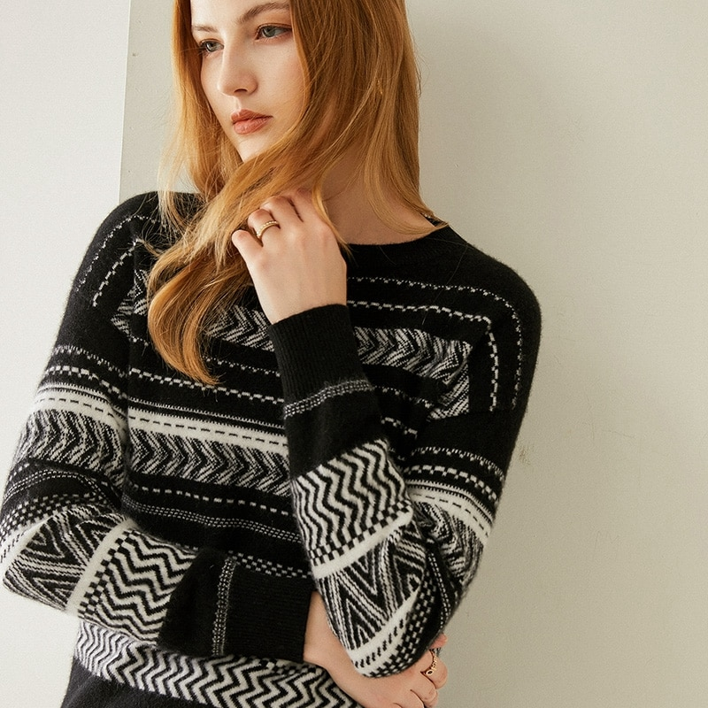Tailor Shop Custom Made Round Neck Striped Cashmere Sweater Women Pure Cashmere Loose Knit Bottoming Sweater enlarge