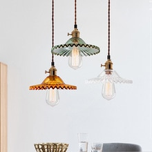 Vintage glass pendant lamp dia 22cm lampshade American Style Retro hanging light fixtures for retaurant bar industrial lighting