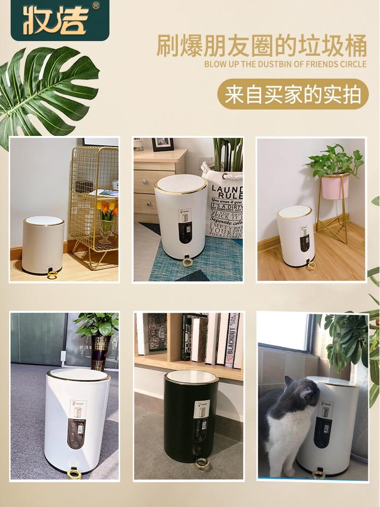 Round Luxury Waste Bin Northern Europe Stainless Steel Creative Toilet Waste Can Kitchen Kosz Na Smieci Home Decoration DI50LJT enlarge
