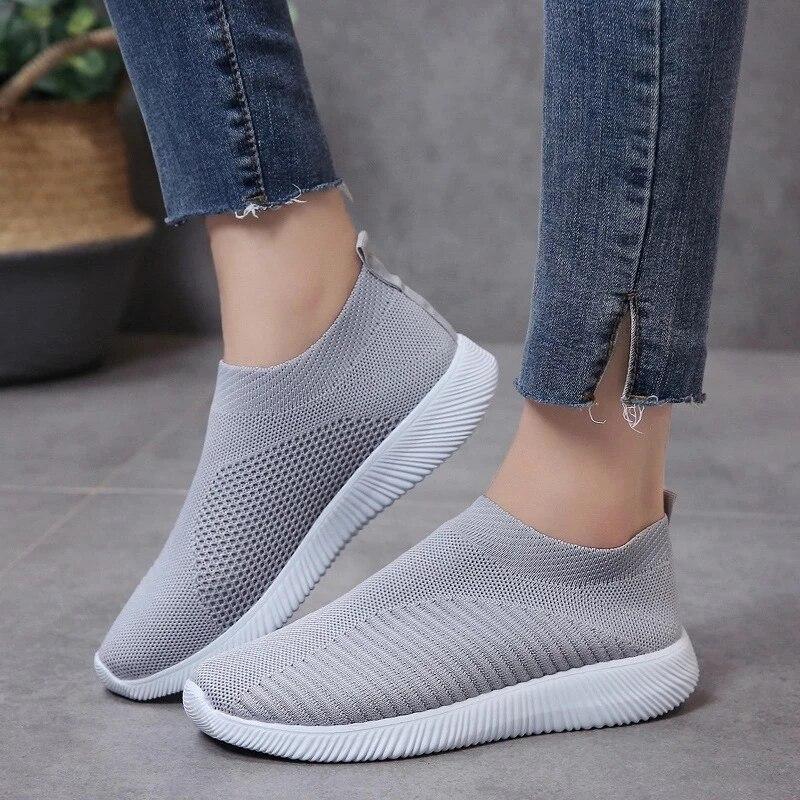 Zapatos de malla planos para mujer de calzado para correr luminoso fondo...
