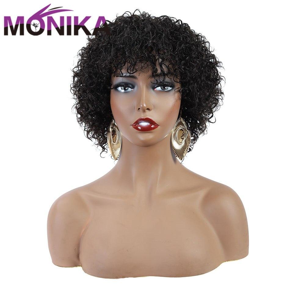 Monika перуанские кудрявые человеческие волосы, парики без Реми, Pixie Cut, медовый блонд, парики без клея, афро парик для женщин, бесплатная достав...