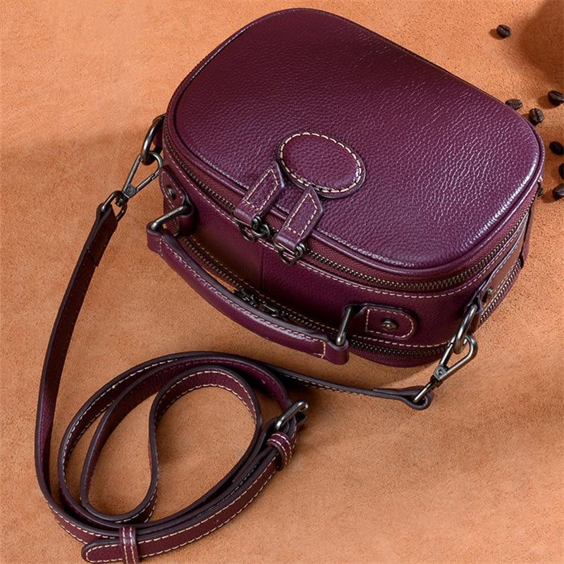 Nesitu Highend nueva moda rojo púrpura negro cuero genuino pequeñas mujeres bolsos de mensajero para niña bolso de hombro bolso M10105