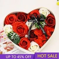 creative design valentines day gift birthday valentine gift rose soap flowerwith lovely heart shape box for couple