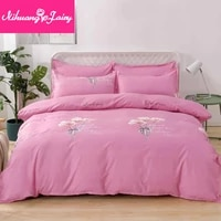 thickened pure brushed four piece bedding set bed linen quilt cover three piece dormitory skin friendly simple bedding