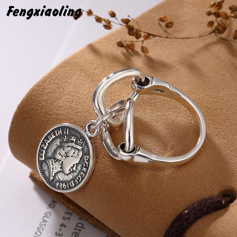 100% authentique réel 925 en argent Sterling Portrait pièce pendentif de haute qualité en argent déclaration anneaux Vintage Style chinois bijoux