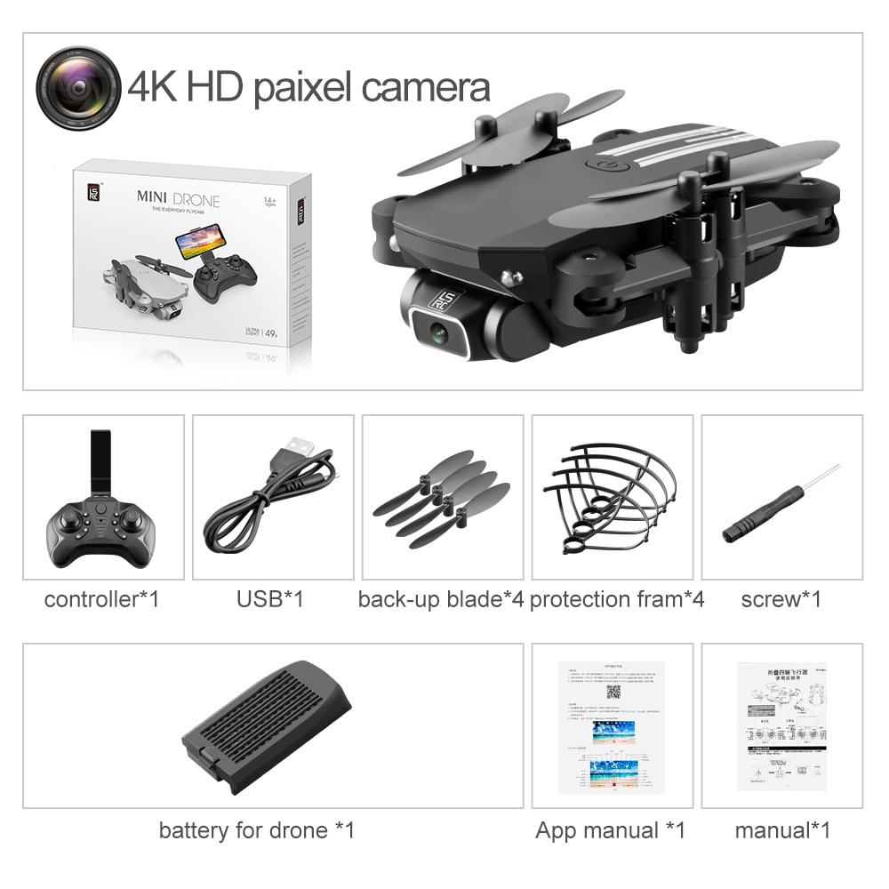 Rc Drone 4K 1080P HD Camera Air Pressure Altitude Hold Black and Gray Foldable Quadcopter RC Drone with Camera enlarge