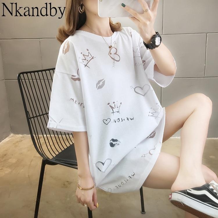 Camiseta larga para mujer Nkandby de gran tamaño, verano 2020, camiseta Kawaii para mujer, Camiseta holgada, divertida camiseta Ulzzang Streetwear