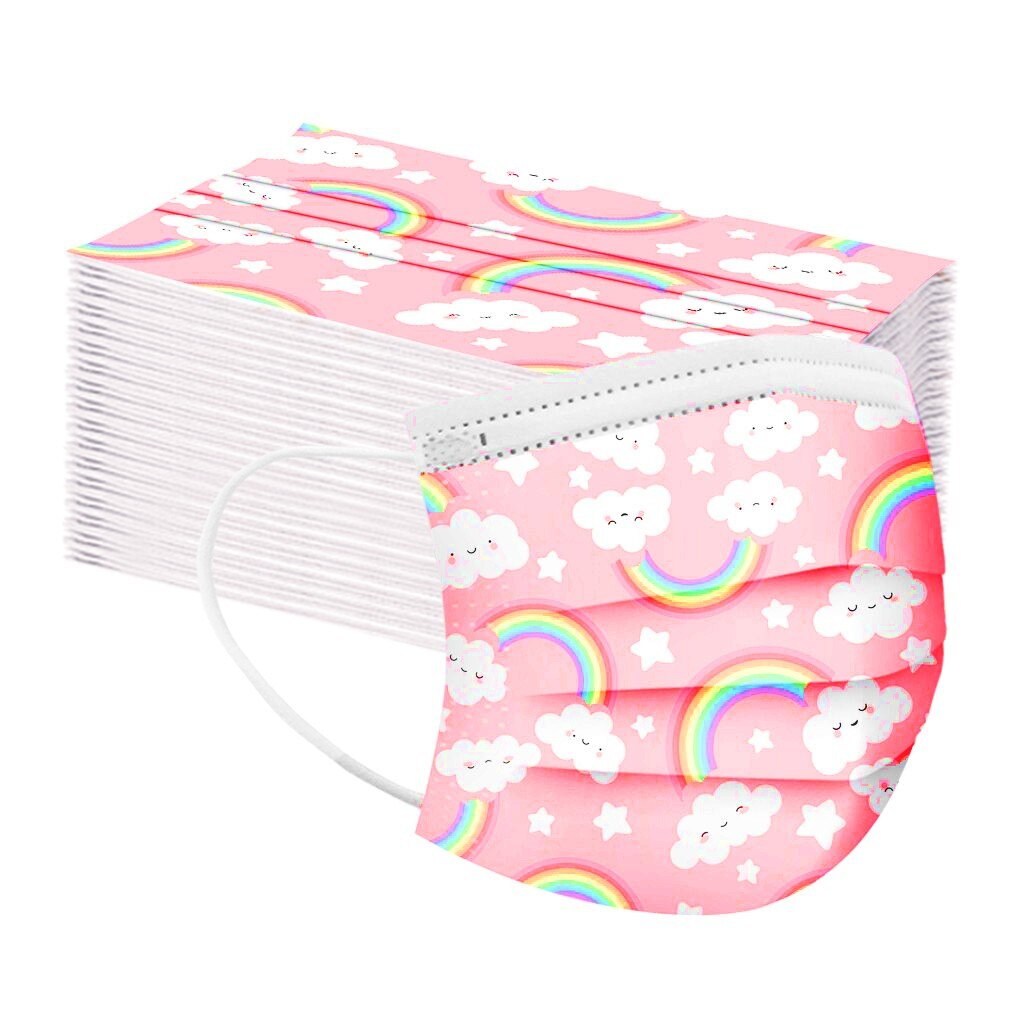Entrega rápida 10/20/50/100pc caçoa a máscara protetora descartável da cópia de masca do lenço do laço da orelha 3ply mascarilla 2020 crianças