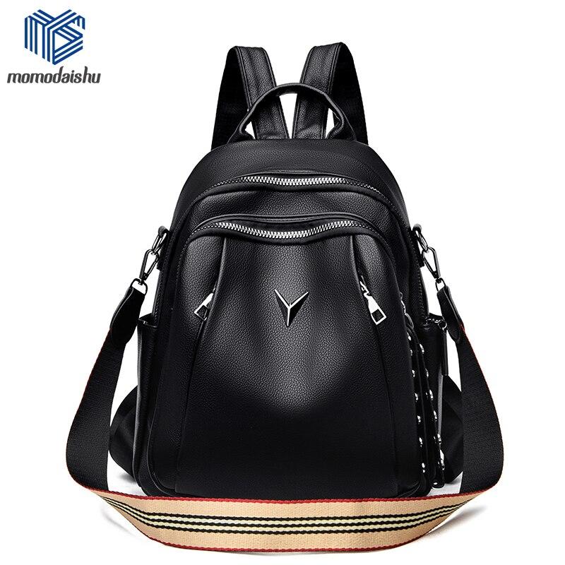 متعددة الوظائف المرأة على ظهره الإناث لينة جلدية عادية حقيبة كتف سوداء عالية الجودة الحقائب المدرسية للفتيات الظهر حزمة Mochilas