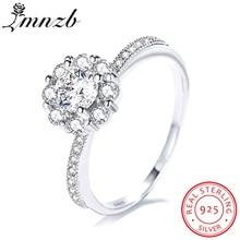 LMNZB Original 100% réel 925 bague en argent Sterling 5A CZ Zircon bijoux de mariage mode fleur couronne conception LR324