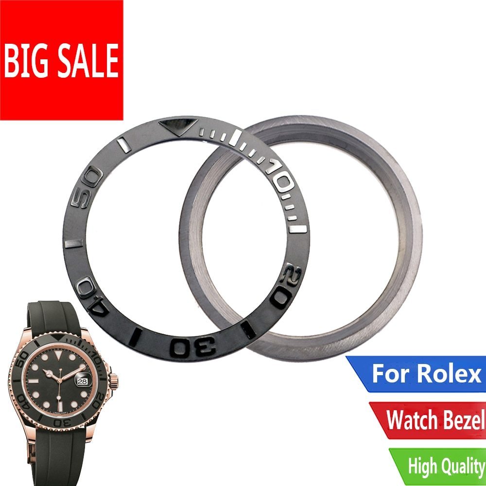 CARLYWET reemplazo de calidad superior reloj gris cerámica pura bisel inserto para 38mm 116655 Rolex Yacht master Oysterflex Seiko SKX007