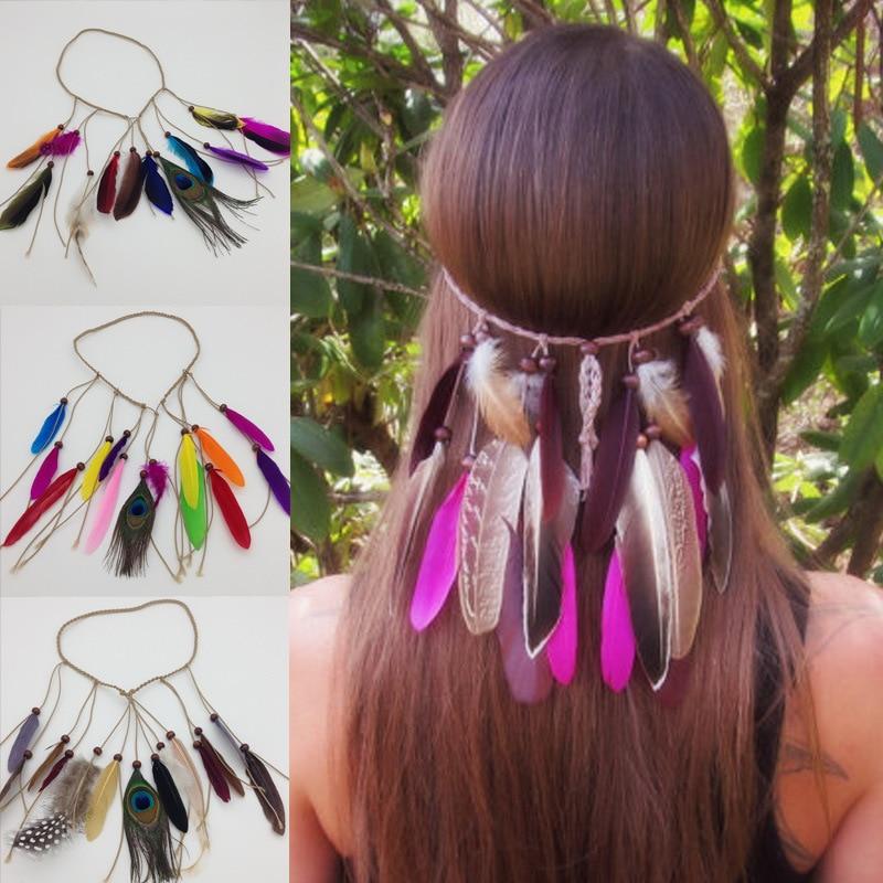 Pelo de pluma de pavo real Bohemia europeo y americano con tocado con borlas indias