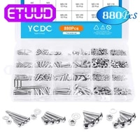 ycdc 880pc m2 m3 m4 m5 screws 304 steel hexagon head screws set with bolt nut lock flat washers machine screws assortment kit