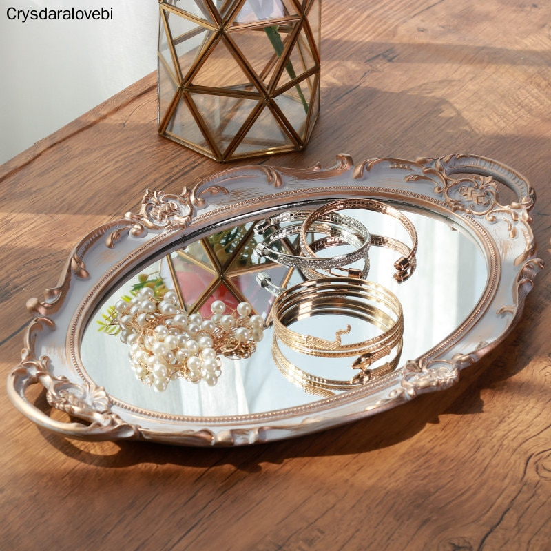European Style Retro Groceries Mirror Tray Dressing Table Jewelry Cosmetic Storage Tray Decoration D