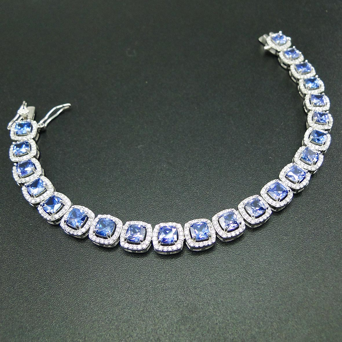 High Quality 100% Real 925 Sterling Silver Bracelet Tanzanite CZ Bracelets for Women Engagement Wedding Jewelry Gift