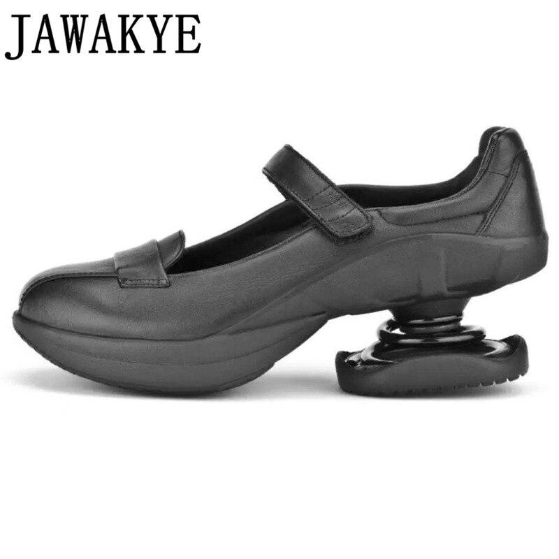Strange Spring zapatos de tacón alto para mujeres PU zapatos de pasarela británica plataforma de punta redonda zapatos casuales zapatos mujer