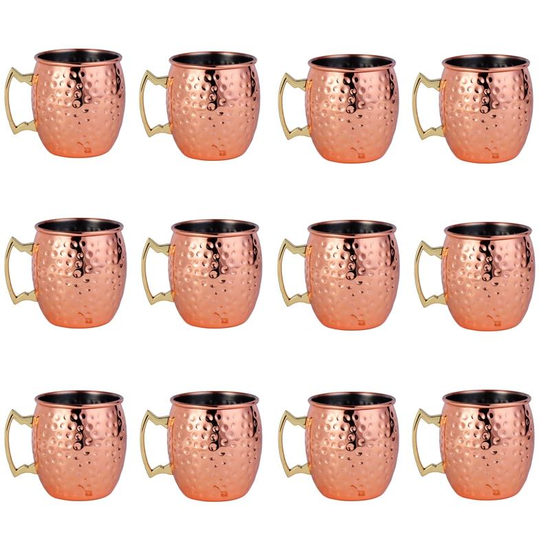 12Pcs 550ml Moscow Mule Copper Mugs Metal Mug Cup Stainless Steel Beer Wine Coffee Cup Bar Tools