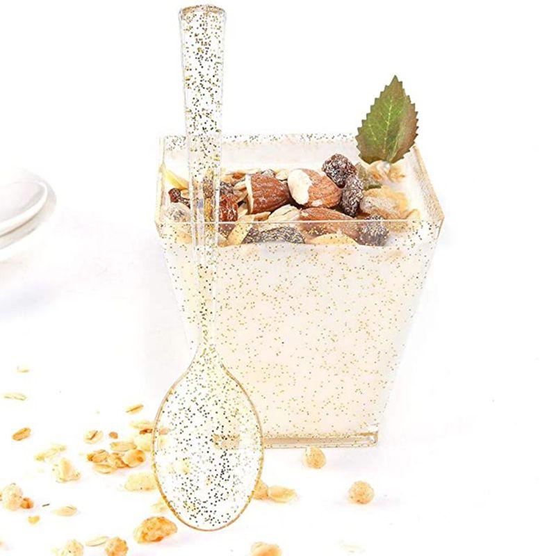 50Sets Square Small Dessert Cups with Mini Tasting Spoons 2oz Disposable Gold Glitter Dessert Plastic Bowls Kichen Food Storage