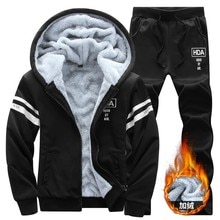 Winter Inner Fleece Hoodies Men Casual Hooded Warm Sweatshirts Male Thicken Tracksuit 4XL 2PC Jacket+Pant Men Moleton Masculino