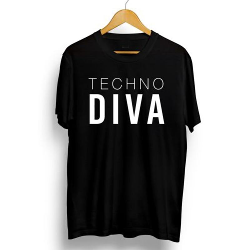 Camiseta Techno Clothing Diva Camiseta talla grande camisetas Tops creativo Diva tecno gótico música gráfico Camisetas Mujer moda XS-3XL