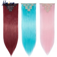 HAIRRO 66cm Women Synthetic Long Straight 8PCS Clip in hair Extentions Pure Colors black brown red H