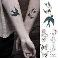 waterproof temporary tattoo sticker swallow butterfly deer rose kid water transfer fake tatto flash semi permanent tatoo women