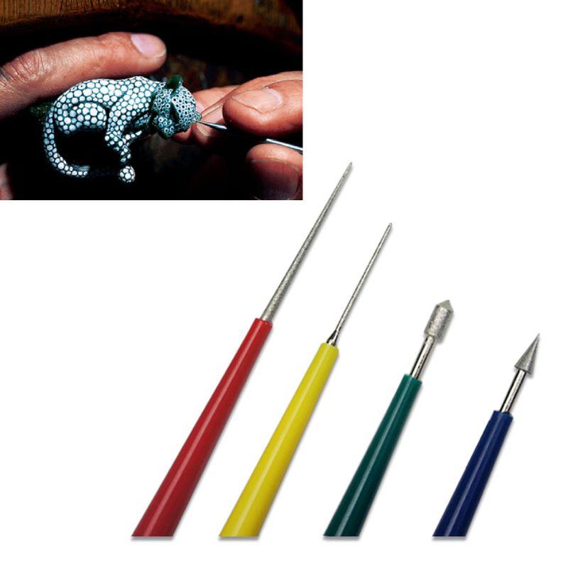4 Uds abalorios agujero enlargador conjunto de herramientas para diamante perla cuentas de vidrio con punta escariadora de archivos herramientas de joyería