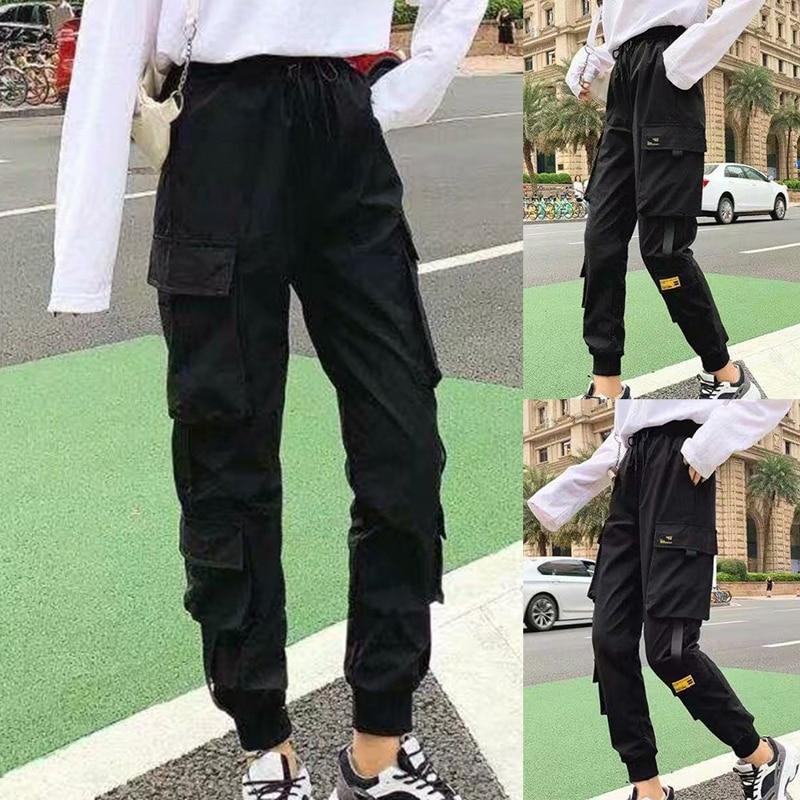 Женские брюки-карго до щиколотки, черные свободные брюки с поясом на резинке, повседневные штаны, 2021