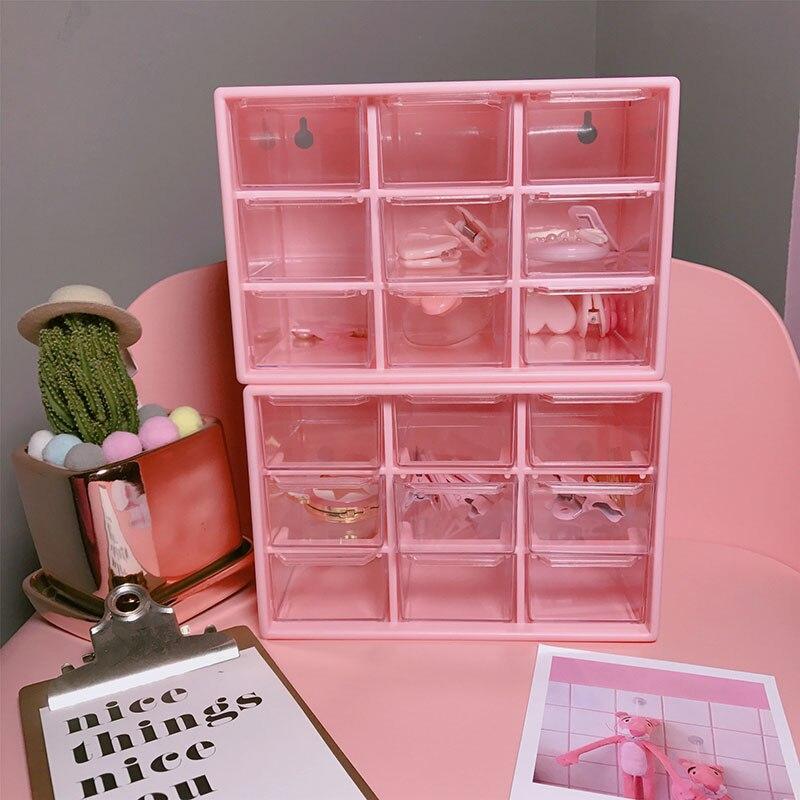 Caja de almacenamiento de escritorio rosa, cajón de artículos diversos, organizador de plástico de 9 rejillas, Mini caja organizadora de maquillaje, caja organizadora de almacenamiento de cosméticos