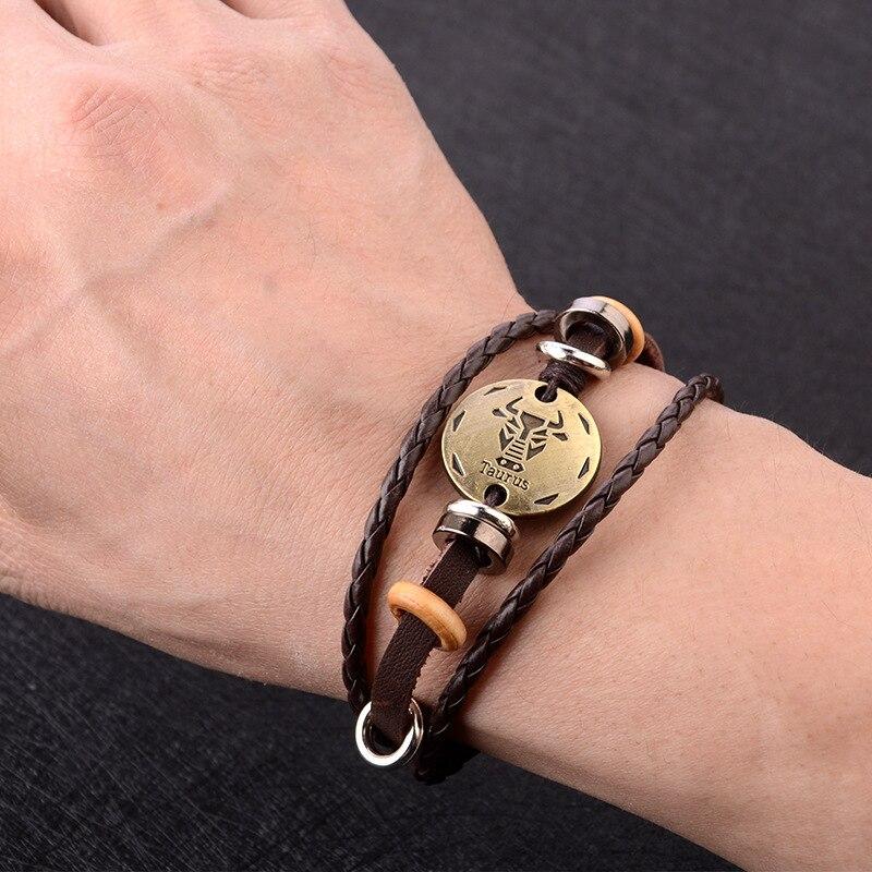 Doze constellation pulseira masculino versão coreana do estudante simples fêmea tecido corda mão retro casal jóias presente