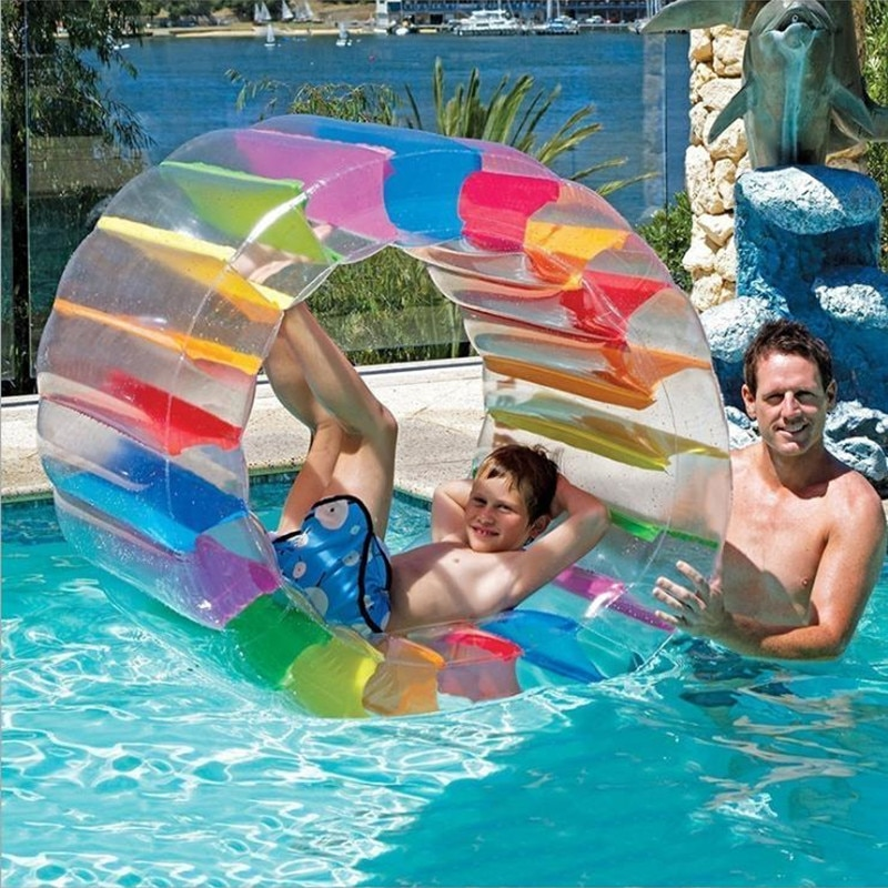 100X65X60cm Colorful Inflatable Water Wheel Roller Float Giant Roll For Children Swimming Pool Toys Crawling Roller Toy