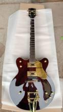 Manufacturers custom-made hot semi-hollow jazz electric guitar, gold hardware, custom Wine Brown 190730